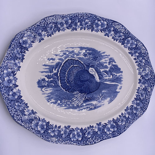 Vintage 'Wedgwood' Blue and White Turkey Platter