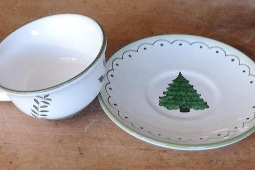 Boxed Set of (4) 'Tree' Teacups & Saucers