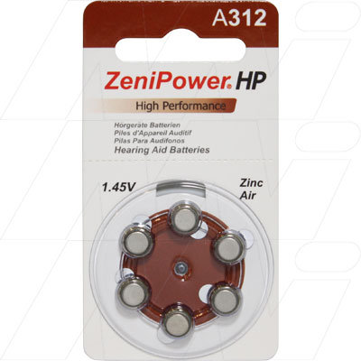 A312 Hearing Aid Batteries - Pkt 6