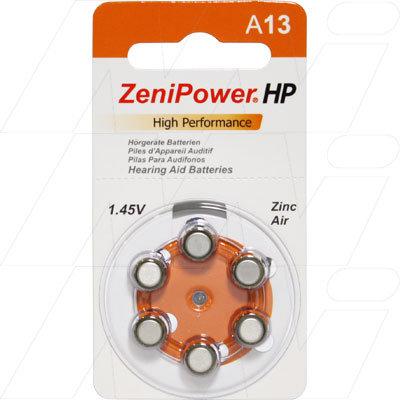 A13 BP6 Hearing Aid Batteries - Pkt 6