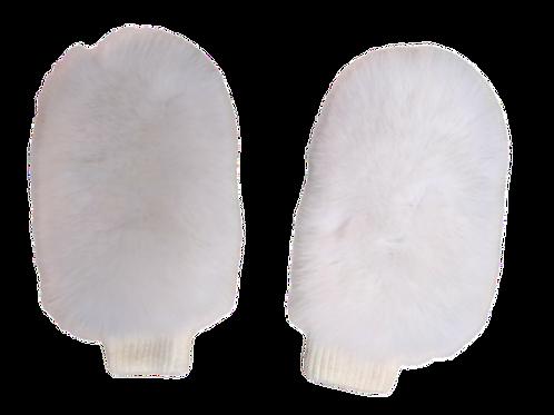 Варежки меховые белые