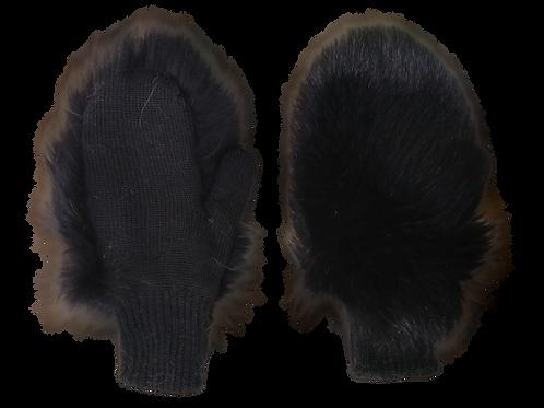 Варежки меховые черные