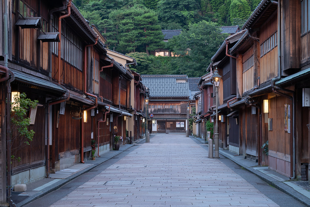 Road with rows of traditional Japanese houses in Kanazawa