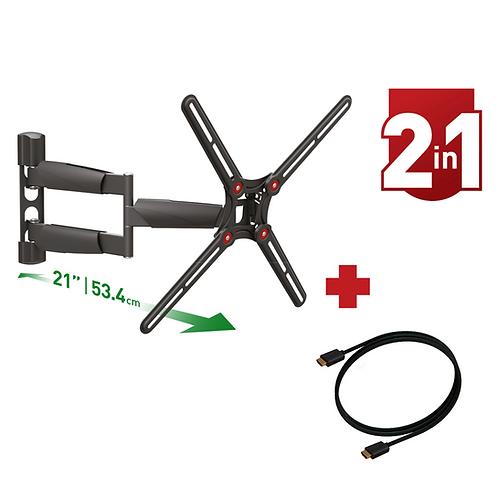 דגם CM343LP-HD - מארז משתלם: זרוע ברקן ארוכה במיוחד למסכי 13-65 אינץ' + כבל HDMI