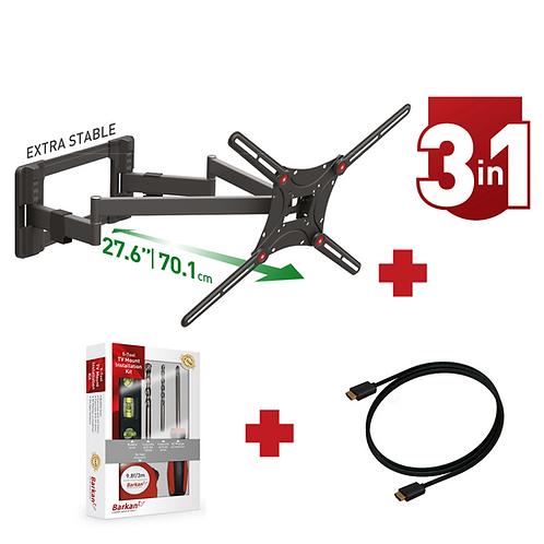 דגם CM464LKIT-HD - מארז משתלם: זרוע ברקן כפולה למסכי 13-90+קיט כלים+כבל HDMI