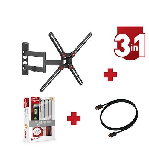 דגם CM34KIT-HD - מארז משתלם: זרוע ברקן 4 תנועות למסכי 13-65+קיט כלים+כבל HDMI