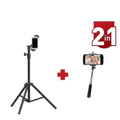 דגם CM71-MP64 - מארז משתלם: סטנד רצפתי מתכוון אנכית לסמארטפון/ טאבלט ומוט סלפי
