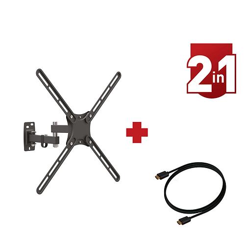 דגם CM342-HD - מארז משתלם: זרוע ברקן 4 תנועות למסכי 13-58 אינץ' + כבל HDMI