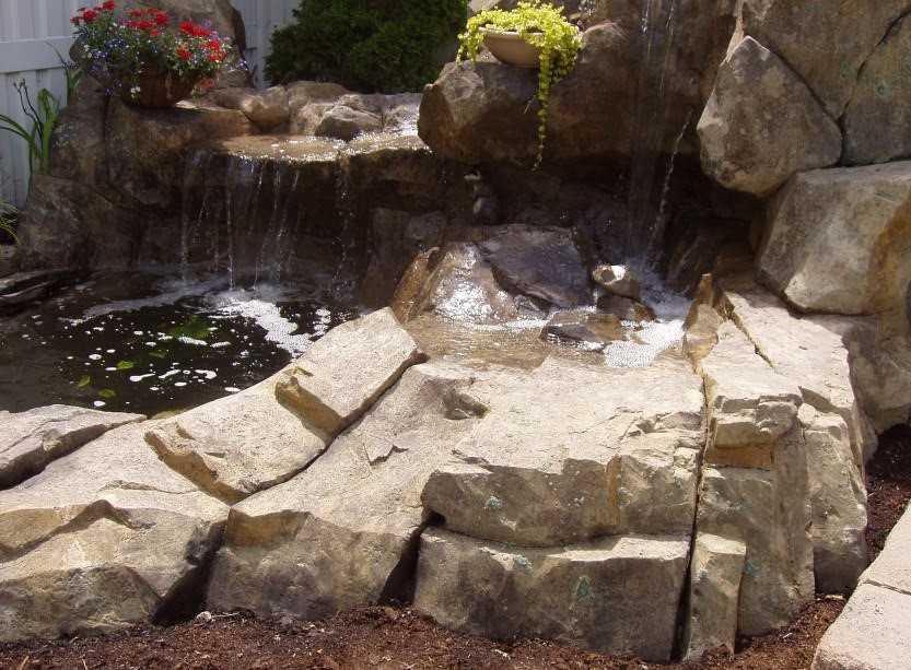 Carved Concrete Waterfall and Pond