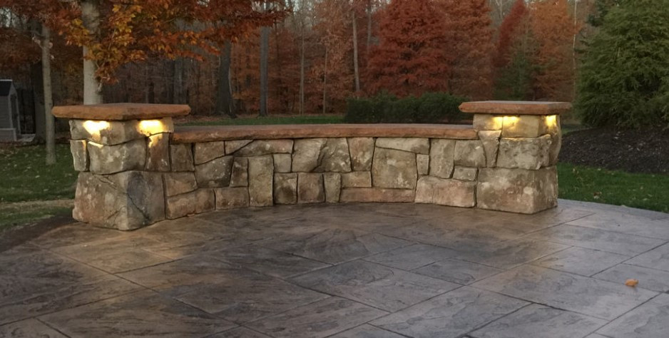 Carved Concrete Seating Wall