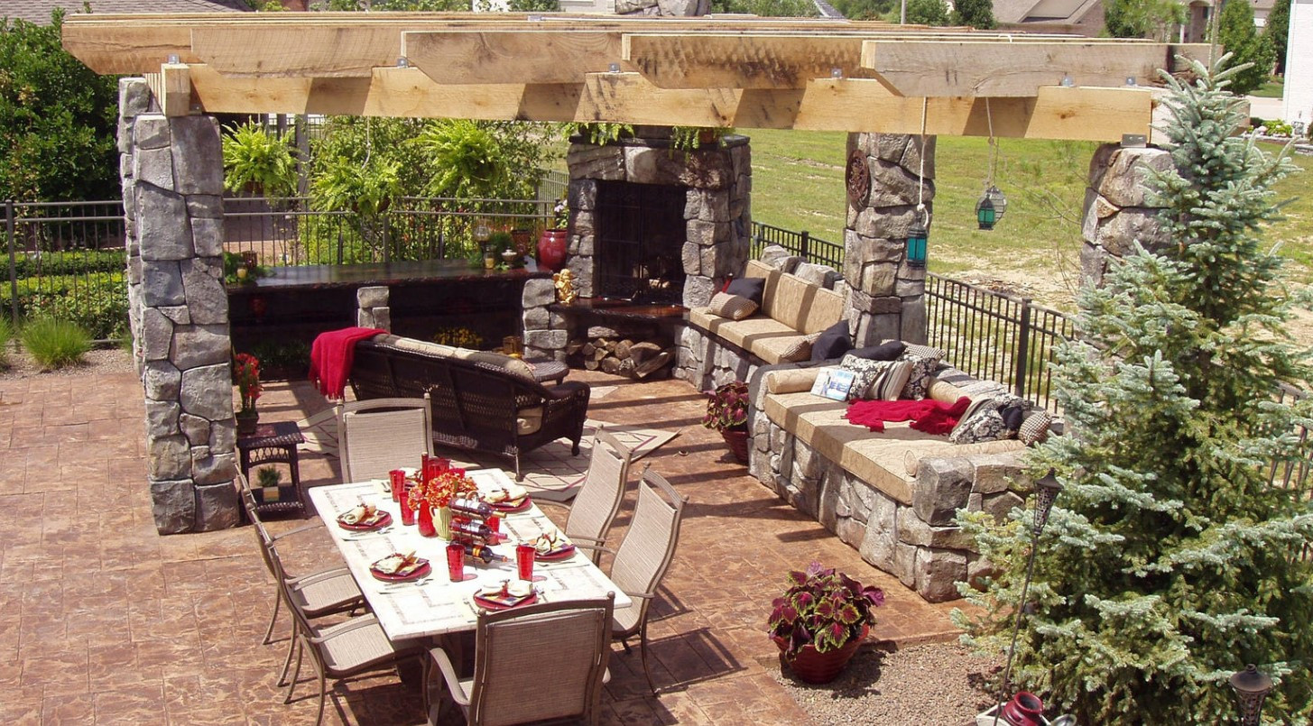 Carved Concrete Outdoor Living Area