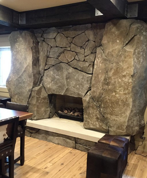 Carved Concrete Fireplace Surround