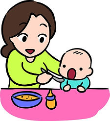 mother-feeding-her-baby-by-spoon-isolate
