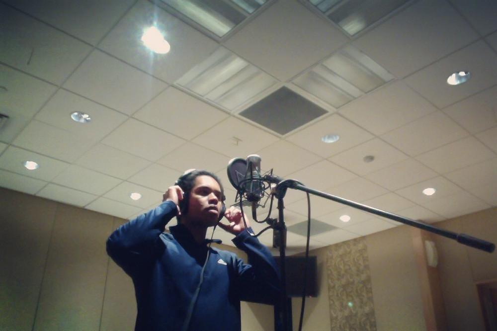 Recording vocals for Origins.