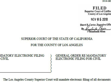 """General Order"" that Governs E-Filing for Los Angeles Civil"