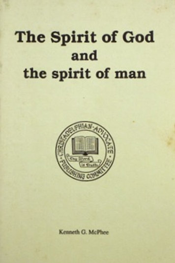 The Spirit of God and the Spirit of Man