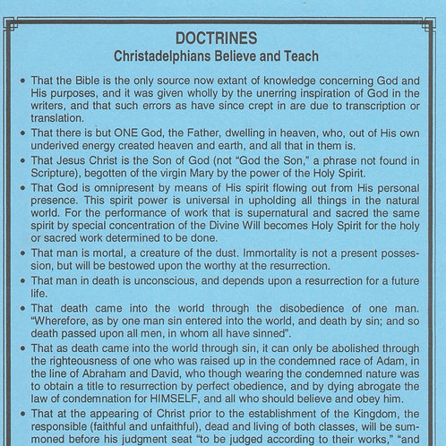 Doctrines Christadelphians Believe and Teach
