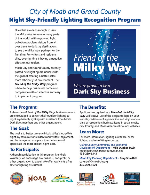 Friends of the Milky Way Business Flyer.