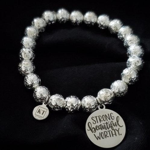 KTTeeV Silver Worthy Logo Bracelet