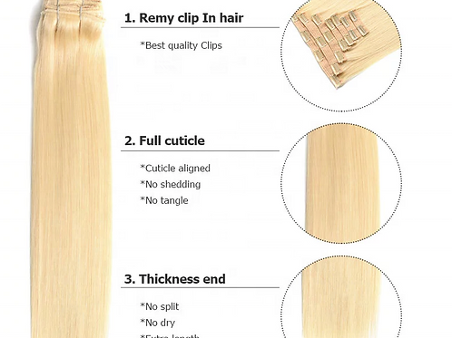 Honey Blonde Silky Straight Human Hair Clip-ins