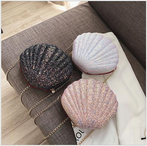 หอยๆ กระเป๋าหอย สายสะพายโซ่ กระเป๋าเปลือกหอยเชลล์ (มีให้ลือก 3 สี)