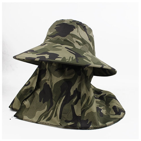 หมวกกันแดด หมวกปีกรอบ มิดชิด ลายทหาร ผ้าบาง ฟรีไซส์ (Free size)