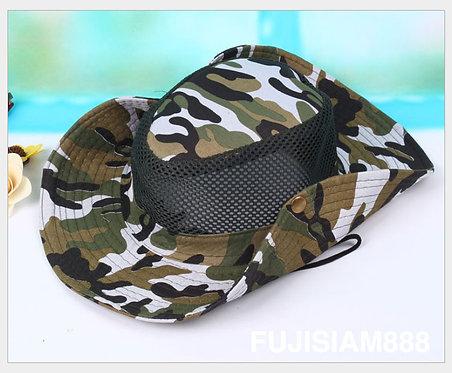 หมวกระบายความร้อน หมวกกันแดด ลายทหาร (มี 3 สี) เต้น หน้ารถแห่ หน้านาค หน้าฮ้าน