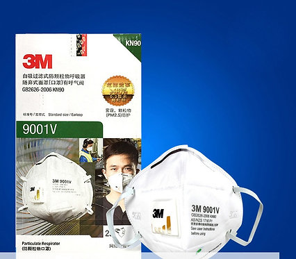 3M 9001V หน้ากากป้องกันฝุ่น พับได้ มีวาล์วKN90 (ราคาต่อชิ้น)