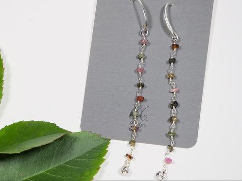 Orecchini catena di pietre rosa e verdi