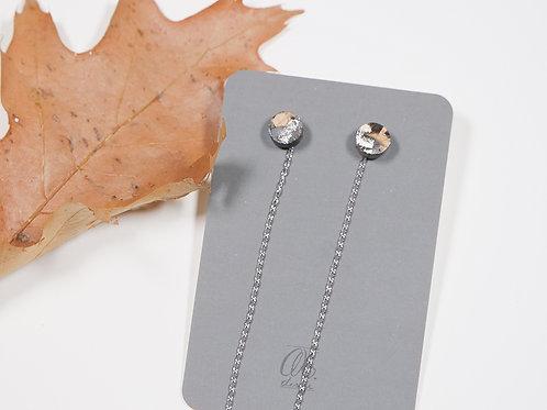 Orecchini punto in legno argento