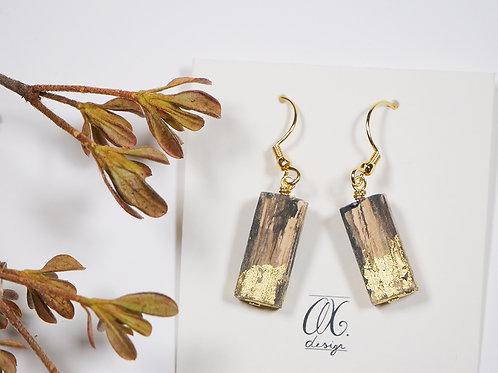 Orecchini pendenti barrette in legno oro