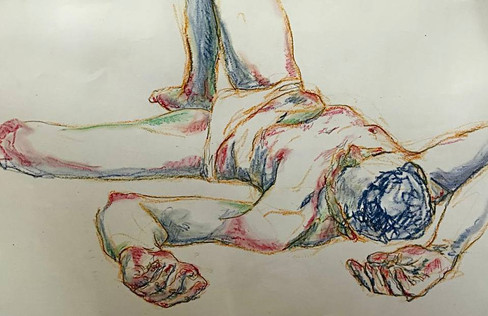 Studio dal vero, 30x42, matita a grafite e pastelli ad olio