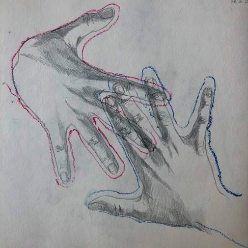 Studio di mani, 40x40, matita a grafite e pastelli ad olio