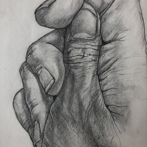 Studio di mani, 40x40, matita a grafite