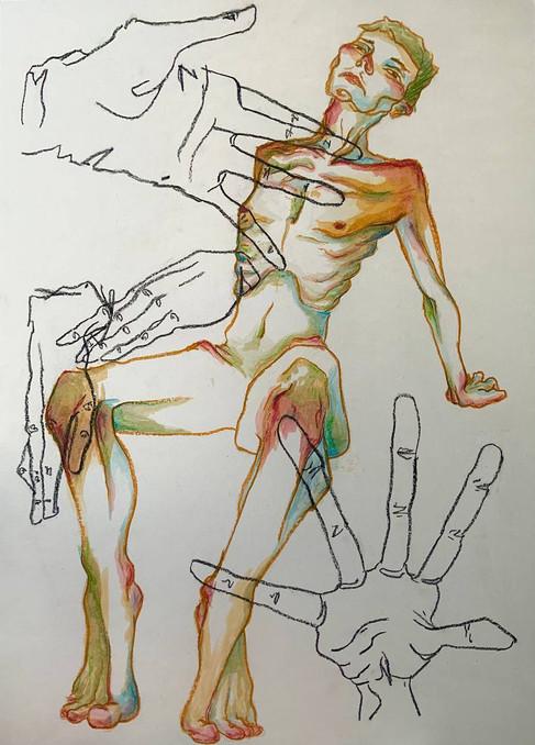 Studio su Schiele, 100x70, pittura ad olio e pastelli ad olio