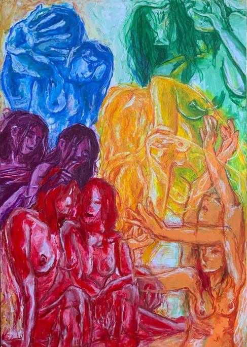 Colore: Scrittura dell'anima 100x70 acrilici e pastelli ad olio