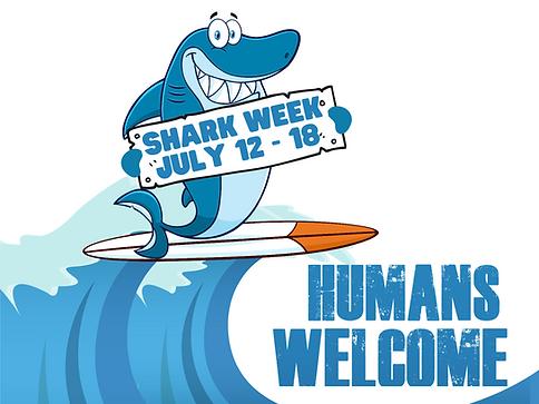 Shark week surfing shark sign.png