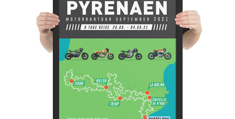 Gerahmtes Poster // Pyrenäen Motorradtour August-September 2021