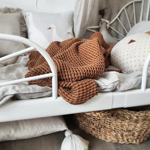 Manta de lino y algodón - caramelo