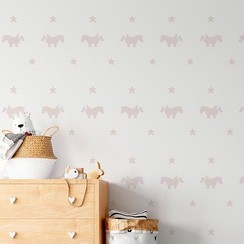Papel pintado Unicornios tonos rosas
