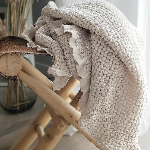 Manta de lino y algodón - natural
