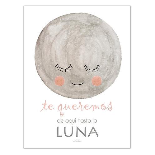 Lámina Luna tonos rosas
