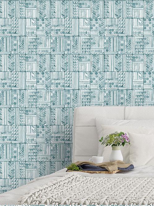 Papel pared Patchwork Azul Egeo