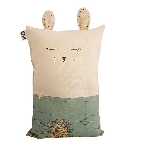 Cojín gato mapamundi turquesa (personalizable)