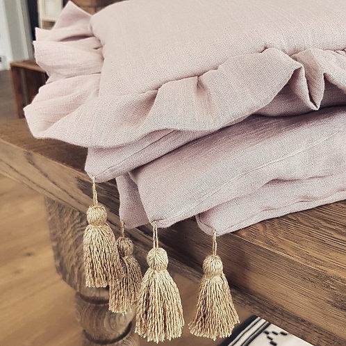 Ropa de cama de lino con volantes - más colores