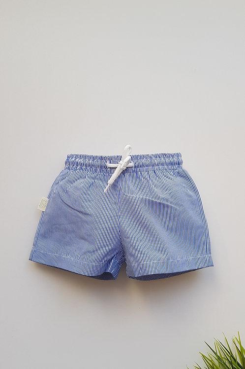 Bañador short a rayas azulón