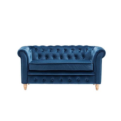 Sofá chester terciopelo azul