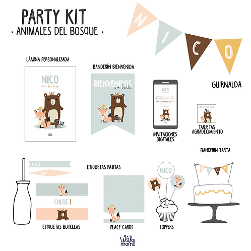 Party kit Animales del bosque