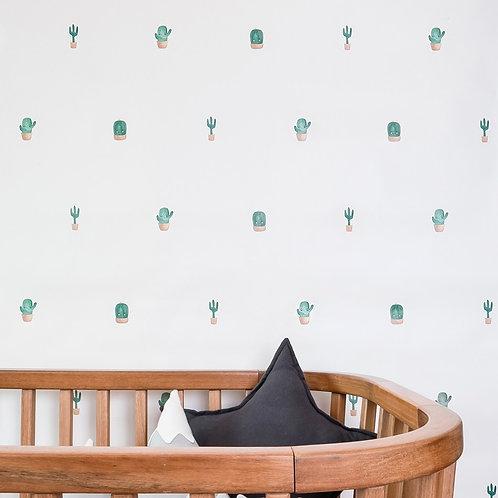 Papel pintado Cactus - tonos verdes