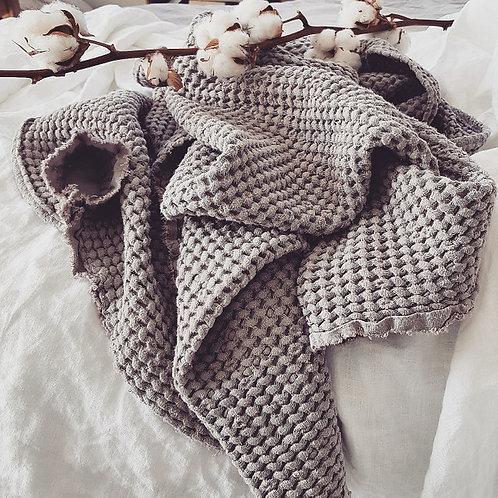 Manta de lino y algodón - gris